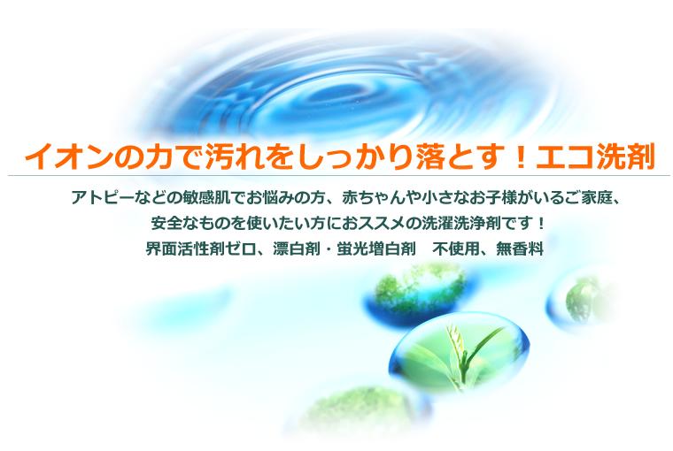イオンの力で汚れをしっかり落とす!エコ洗剤